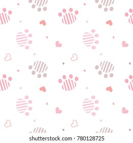 Seamless Pattern of Hand Drawn Paws and hearts on White Background