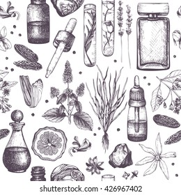 Seamless pattern with hand drawn perfumery and cosmetics materials sketch. Organic and floral perfume ingredients background. Vintage illustration