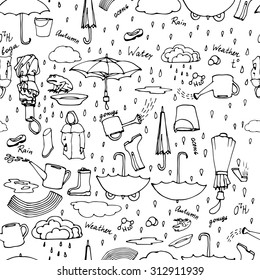 Seamless pattern with hand drawn pictures of rainy weather, autumn motives, umbrellas, water. Hand drawn rain, water, autumn set. Vector illustration. White background, black strokes