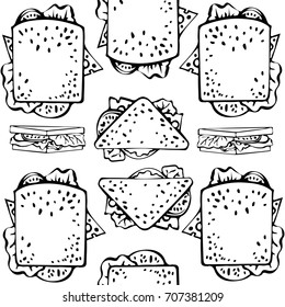 Seamless pattern with hand drawn pictures of different toasts: square, triangle toasts. Upper view and side view of a toast. Ornament for wrapping paper. Vector illustration. Meal collection