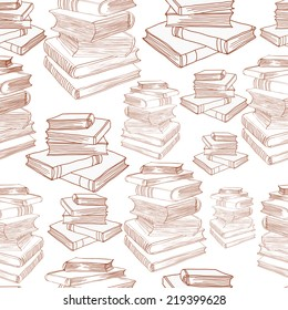 Seamless pattern with hand drawn piles of books. Clipping mask is used, vector illustration.