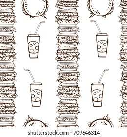 Seamless pattern with hand drawn piles of burgers and soda water with straws.  Brown on white. Linear drawing. Vector illustration