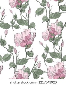Seamless pattern, hand drawn pink pale Eustoma.