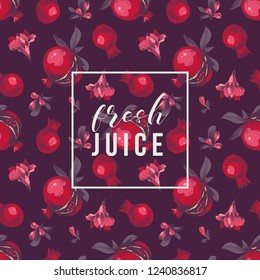 Seamless pattern with hand drawn pomegranates on dark background and type design. Vector illustration