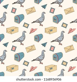 Seamless Pattern with hand drawn postal elements.  Postal Service concept. Mail Delivery.