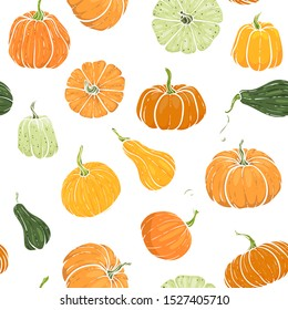 Seamless pattern with hand drawn pumpkin in cartoon style. Cute autumn pattern Seamless textile. design for greeting card and invitation of seasonal fall holidays, halloween, thsanksgiving, harvest
