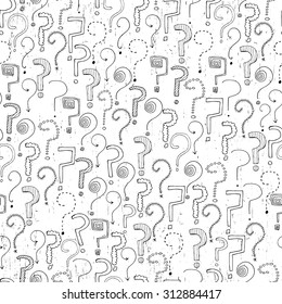 Seamless pattern with hand drawn question marks. Vector illustration.  Hand drawn questions on white background. Can be used for wallpapers, pattern fills, surface textures, textile, wrapping.