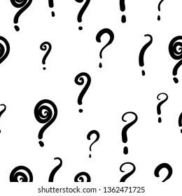 Seamless pattern with hand drawn questions marks doodle vector