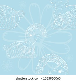 Seamless Pattern with Hand Drawn Rabbit and Camomille Flowers Placed on the Blue Background. Vector Doodle with Zentangle Elements. Cute Bunny Character for Easter Holiday.