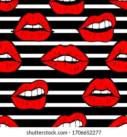Seamless pattern  with hand drawn red lips on background with black and white strips. Beautiful vector texture.