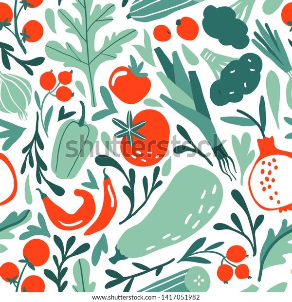 Seamless pattern with hand drawn red and green fruits, berries, vegetables. Flat pepper, tomato, leek, broccoli, garnet, cucumber. Vegetarian healthy food vector texture. Vegan, farm, organic, detox
