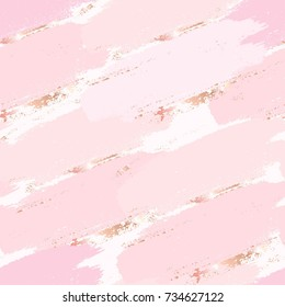 Seamless pattern. Hand drawn rose, gold and nude brush strokes. Abstract vector background.