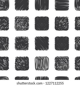 Seamless pattern of hand drawn scribble objects for logo, web, design use.  Black vector design squares collection on white background. Abstract grunge elements