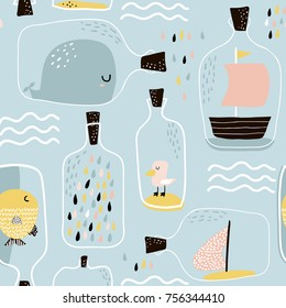 Seamless pattern with hand drawn sea jar with marine elements. Childish texture for fabric, textile,apparel. Vector background