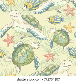 Seamless pattern with hand drawn sea fish and turtles. Sea wallpaper. Vector illustration.