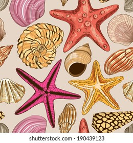 Seamless pattern of hand drawn seashells and starfish