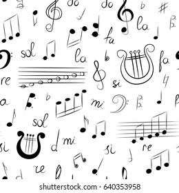 Seamless Pattern of Hand Drawn Set of  Music Symbols. Doodle Treble Clef, Bass Clef, Notes and Lyre. Sketch Style. Vector Illustration.