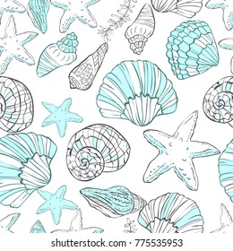 Seamless pattern with hand drawn shells on white background
