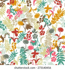 Seamless pattern with hand drawn simple flowers silhouettes. Vector illustration.