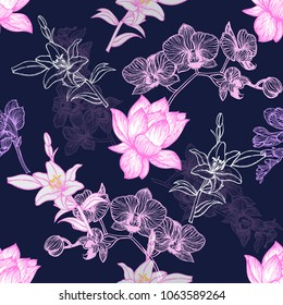 Seamless pattern of hand drawn sketch style exotic flowers. Vector illustration.