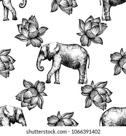 Seamless pattern of hand drawn sketch style lotus flowers and elephants isolated on white background. Vector illustration.