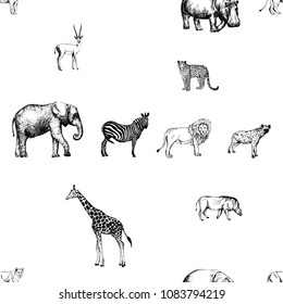 Seamless pattern of hand drawn sketch style animals isolated on white background. Vector illustration.