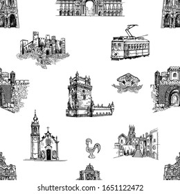 Seamless pattern of hand drawn sketch style Portugal related objects isolated on white background. Vector illustration.