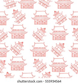 Seamless pattern with hand drawn sketch of detached Asian or traditional Chinese house with big windows and roof. red and white. Vector illustration. funny kids style. Japanese, Vietnamese building.