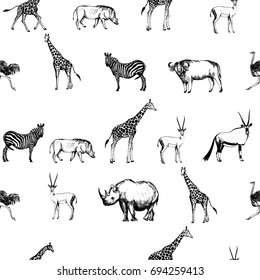 Seamless pattern of hand drawn sketch style African animals. Vector illustration isolated on white background.