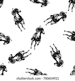 Seamless pattern of hand drawn sketch style jockey on a horse. Vector illustration isolated on white background.