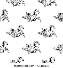 Seamless pattern of hand drawn sketch style cat. Vector illustration.