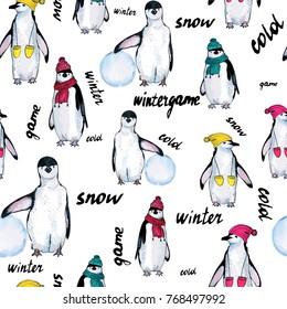 Seamless pattern hand drawn sketch of penguins on white background with letterings