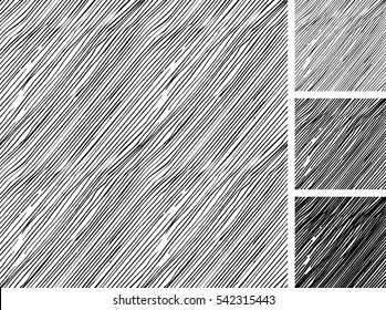 Seamless pattern of hand drawn sketches rough parallel hatching grunge pattern. texture has three different shades: light, mid and dark tone.