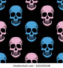 Seamless pattern with hand drawn skulls. Vector Illustration