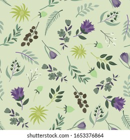 seamless pattern of hand drawn small flower in free style on light lime green background
