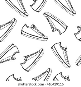 Seamless pattern with hand drawn spor tshoes or sneakers. Wrapping paper. Vector stock illustration for shoe shop.