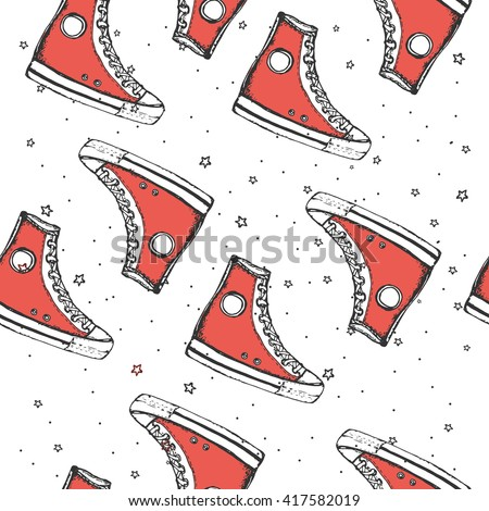 cd338dcd9bc345 Seamless pattern with hand drawn sport shoes or sneakers. Wrapping paper.  Vector stock illustration