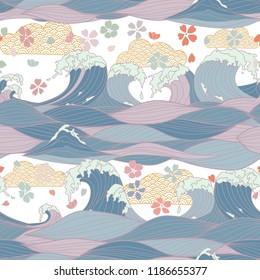 Seamless Pattern with Hand Drawn Stylized Sea Waves, Japanese umbrellas, sakura flowers. Vector Illustration