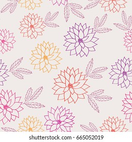 Seamless pattern with hand drawn summer flowers for textile, wallpapers, gift wrap and scrapbook. Vector illustration