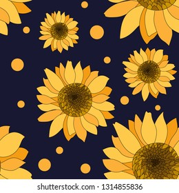seamless pattern of hand drawn sunflowers with dot background