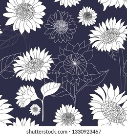seamless pattern of hand drawn sunflowers outline and white on navy background in vector illustration