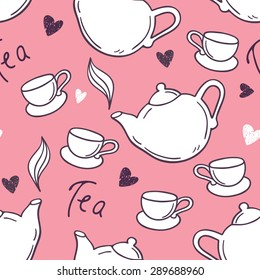Seamless pattern with hand drawn tea cup and teapot. Doodle background. Vector illustration.