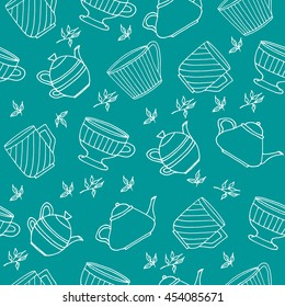 Seamless pattern with hand drawn tea set with colored tea pots, tea cups, green tea leaves. Vector stock illustration. Elements for menu for restaurants and cafe.