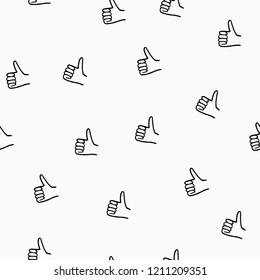 Seamless pattern with hand drawn  thumbs up