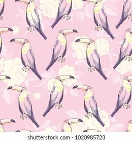 Seamless pattern with hand drawn toucan