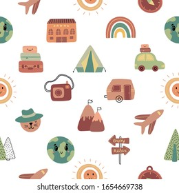 Seamless pattern with hand drawn travel icons. Vector illustration perfect for wrapping, wallpaper, texture, web background.