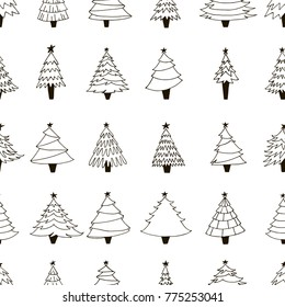 Seamless pattern with hand drawn trees. Contour drawing. Black and white vector illustration. Design for wrapping paper, textile, fabric. Xmas seamless pattern. Happy New year decor. Winter collection