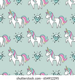 Seamless pattern with hand drawn unicorn and diamond