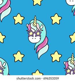 Seamless pattern with hand drawn unicorn and stars.