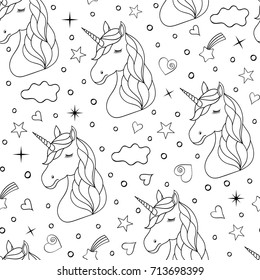 Seamless pattern of hand drawn unicorns on white background. Coloring page for kids and adult. Vector illustration.